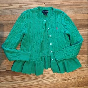 Ralph Lauren Green Peplum Cabled Cardigan Small 7